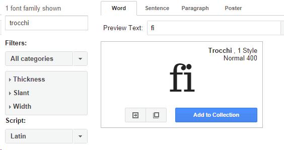 Google fonts - Chrome