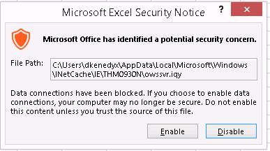 Excel Security Notice